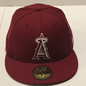 New Era 59 Fifty Burgundy  MLB Los Angeles Ángels